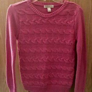 Forever 21 Cable Knit Hot Pink Sweater